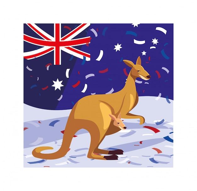 Кенгуру с флагом австралии Premium векторы
