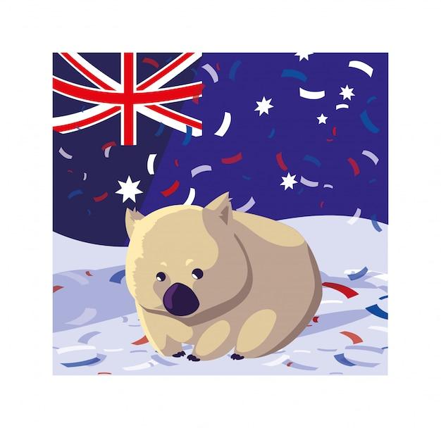 オーストラリアの国旗とウォンバット Premiumベクター