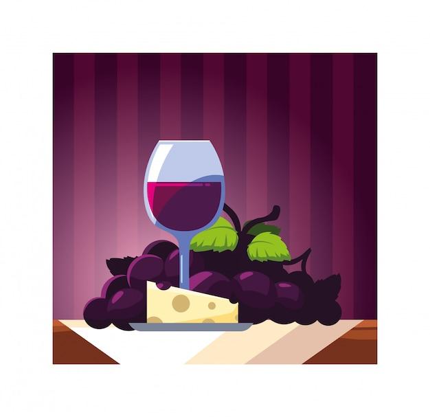ブドウとチーズ部分のワイングラス Premiumベクター