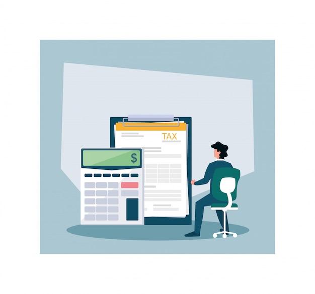 Бизнесмен в день налога Premium векторы