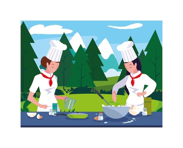 Красивые женщины готовят, повар в белой форме Premium векторы