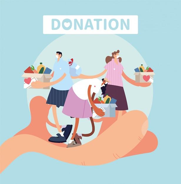 慈善寄付の人々のシンボルと手 Premiumベクター