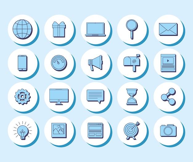 ソーシャルメディアコンセプトのアイコンセット Premiumベクター
