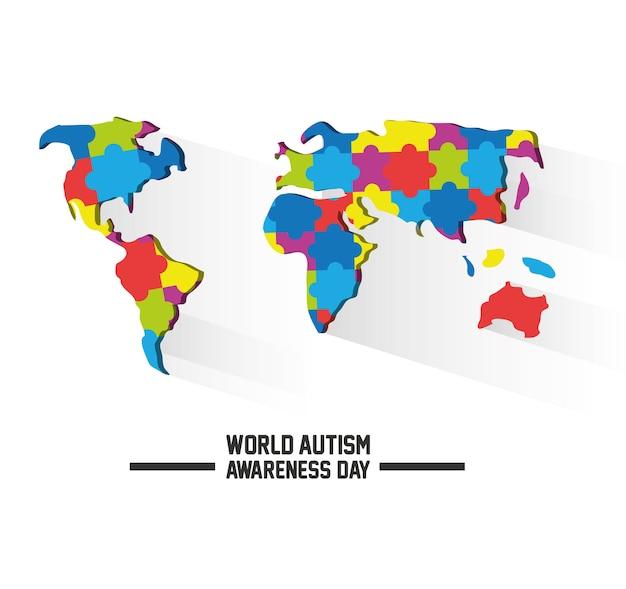 世界自閉症認識デイデザイン Premiumベクター