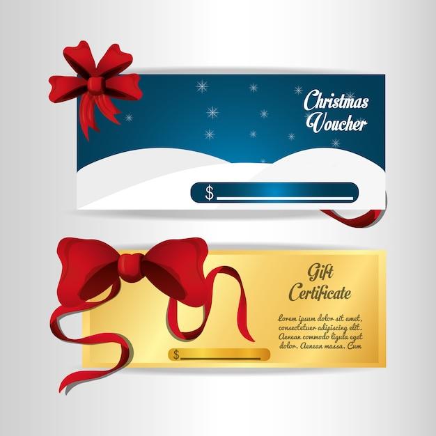Рождественский ваучер и подарочный сертификат Premium векторы