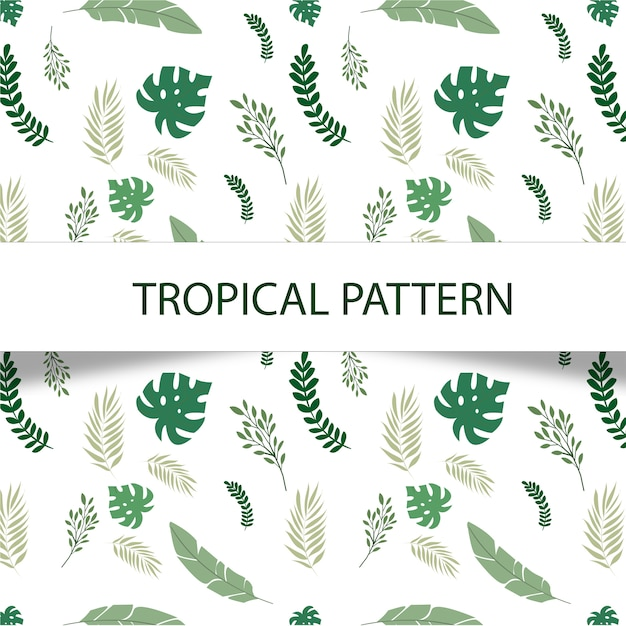 Сказочный тропический узор с зелеными растениями на белом фоне Бесплатные векторы