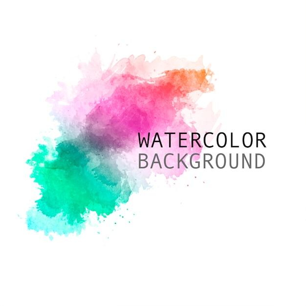 美しい手描きの虹の水彩画の背景 無料ベクター