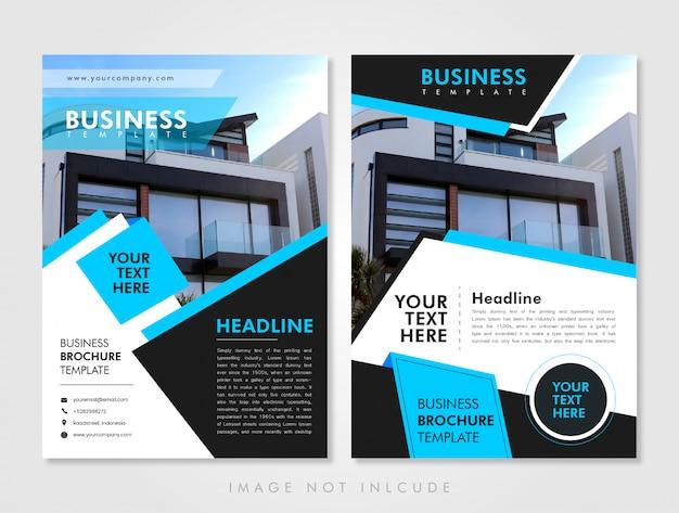 ビジネスチラシテンプレートブルー Premiumベクター