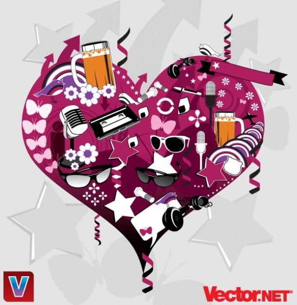 ... графика сердца вектор коллаж Вектор: ru.freepik.com/free-vector/free-vector-heart-collage-graphics...