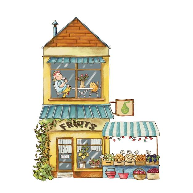 Симпатичная иллюстрация мультфильма о рынке фруктов Premium векторы