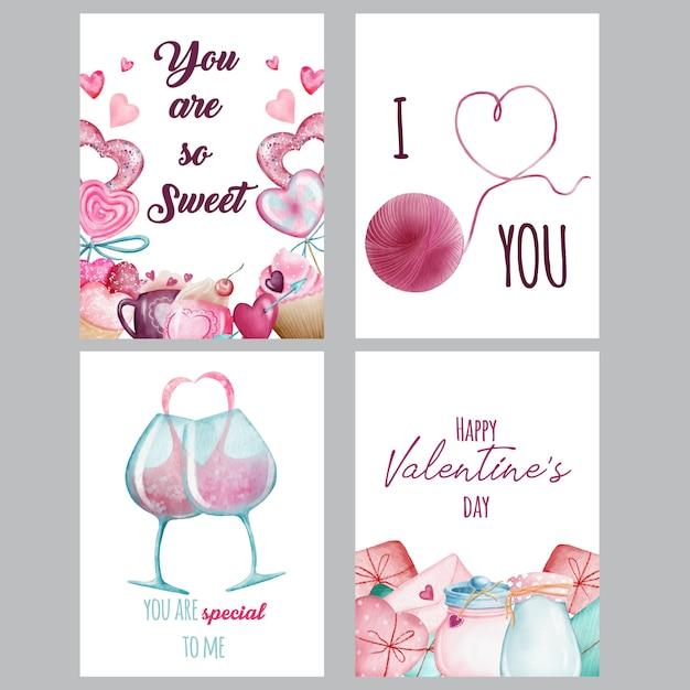 水彩バレンタインカード Premiumベクター