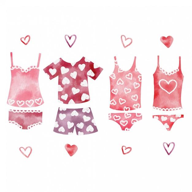 かわいいバレンタインデーの下着の手塗りの水彩画セット Premiumベクター
