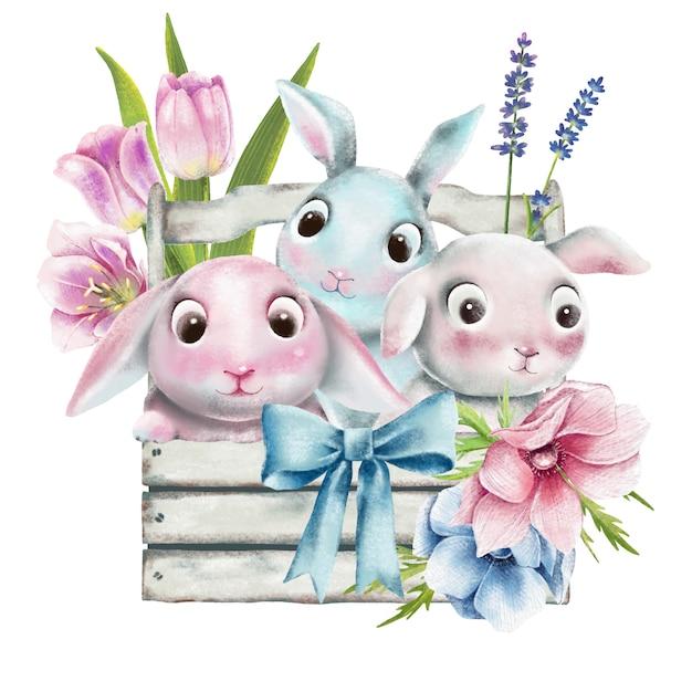 Набор акварельных пасхальных кроликов Premium векторы