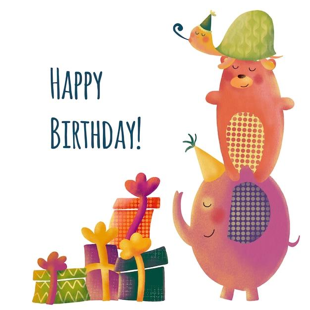 漫画の動物とかわいい誕生日グリーティングカード Premiumベクター