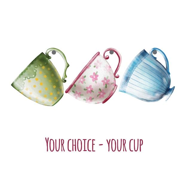 手描きのかわいいヴィンテージティーカップの水彩画セット Premiumベクター