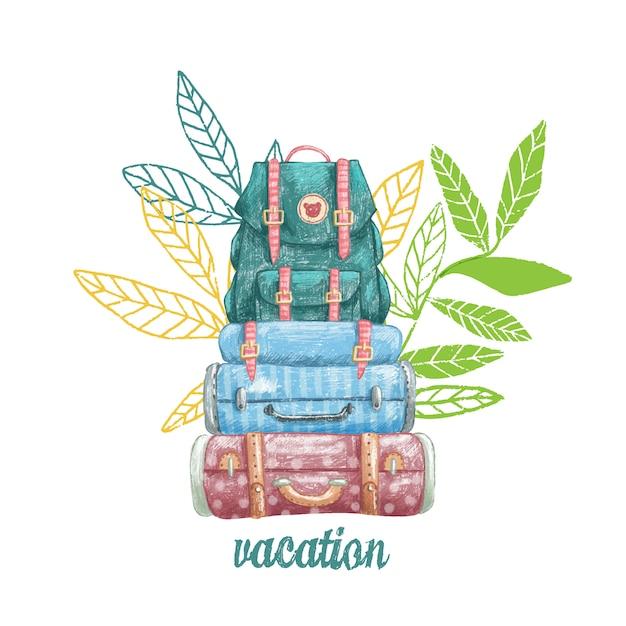 かわいいビンテージスーツケースと休暇のためのバックパックの描き下ろしイラストを手します。 Premiumベクター