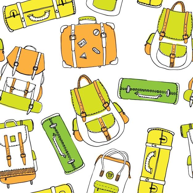 バックパックとトラベルバッグの描かれたアウトラインシームレスパターンを手します。 Premiumベクター