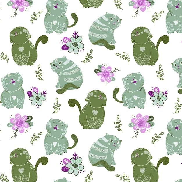 かわいい猫のキャラクターと花のシームレスパターン Premiumベクター