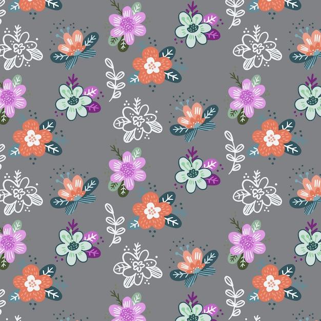 抽象的なベクトルの花とのシームレスなパターン Premiumベクター