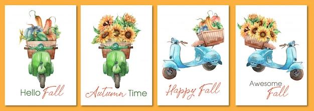 ビンテージバイクと秋のグリーティングカードの手描き水彩セット Premiumベクター