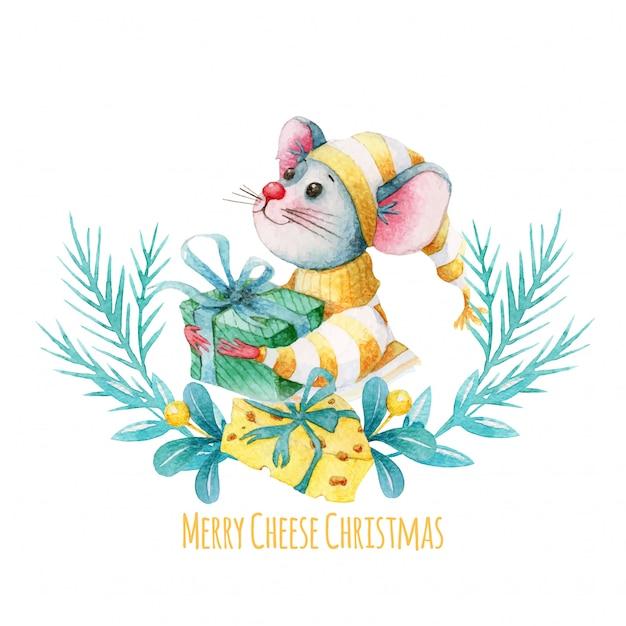 水彩のマウスとチーズのメリークリスマスイラスト Premiumベクター