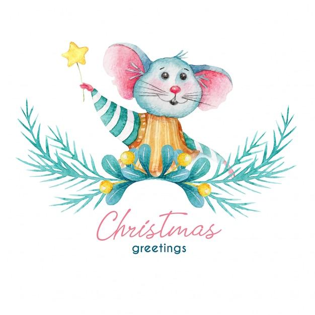 マウスと装飾のクリスマスイラストの挨拶 Premiumベクター