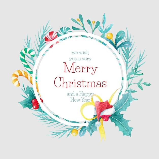 手描き水彩クリスマスサークル枠 Premiumベクター