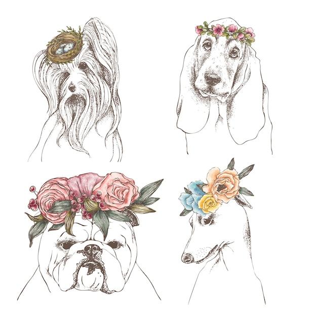 面白い犬の手描きのアウトラインセット Premiumベクター