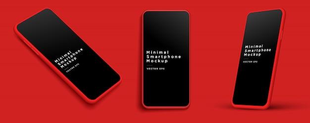 ミニマリストのモダンな赤い粘土のモックアップスマートフォン。 。 Premiumベクター