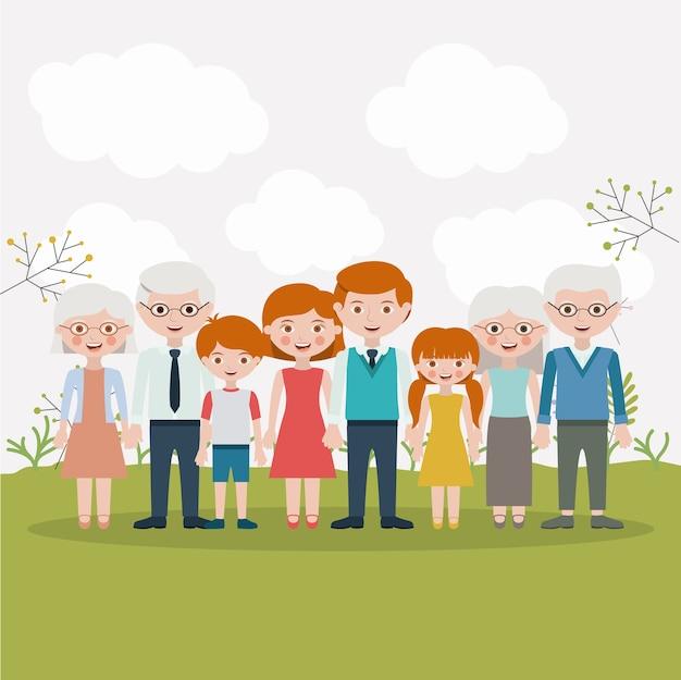 Картинка семьи мама папа сын бабушка