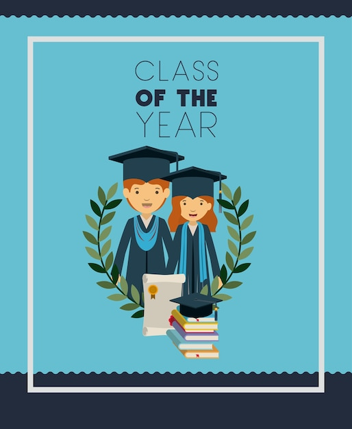 カップル卒業生の卒業証書 Premiumベクター