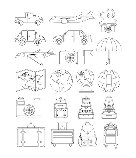 Путешествия по всему миру Premium векторы