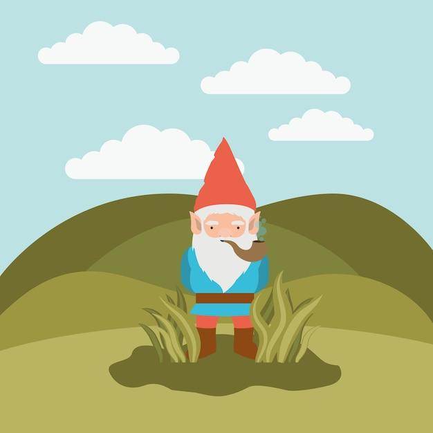 グノーの幻想的なキャラクターが茂みから出てくる Premiumベクター