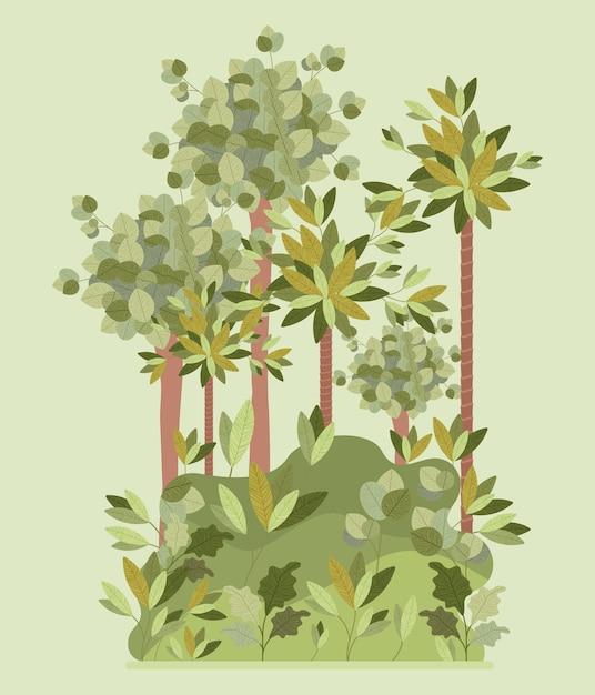 自然の森風景風景 Premiumベクター