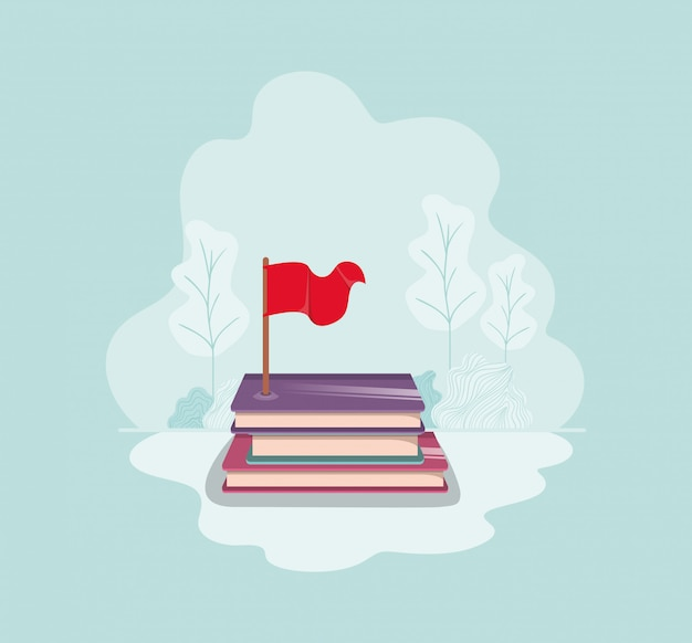 Текстовая книга с значком изолировать флаг Premium векторы