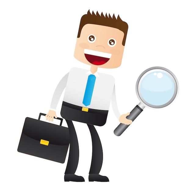 虫眼鏡、スーツケース、ベクトル、ビジネスマン Premiumベクター