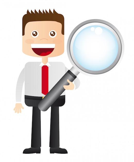 白い背景ベクトル上の虫眼鏡と実業家 Premiumベクター
