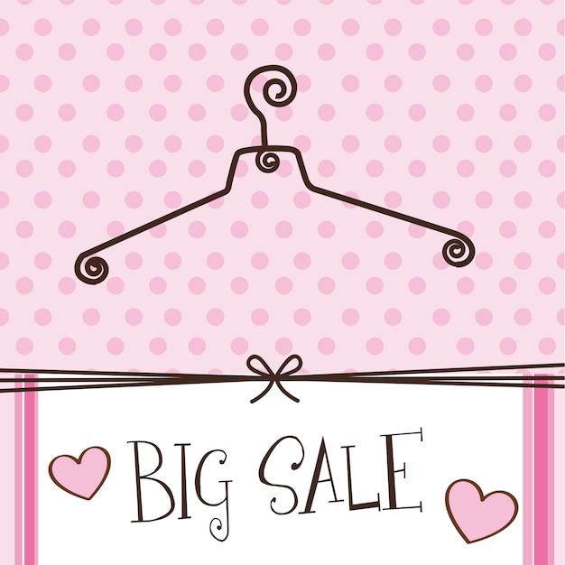 Симпатичная вешалка с большим текстом продажи над розовым фоном Premium векторы