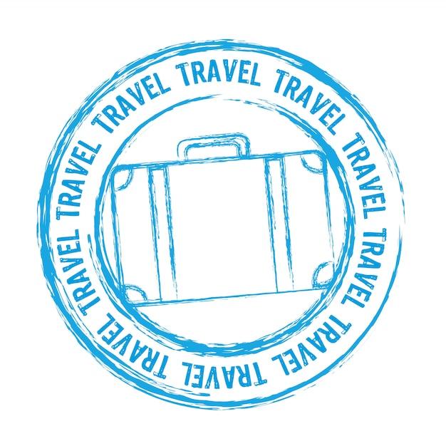 Синий путешествия штамп, изолированных на белом фоне вектор Premium векторы