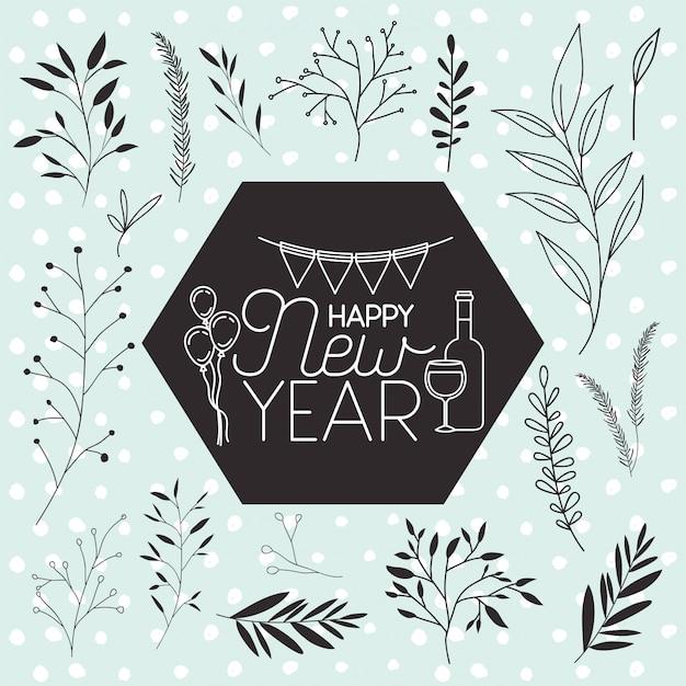 幸せな新年のレタリングと花輪の王冠とフレーム Premiumベクター