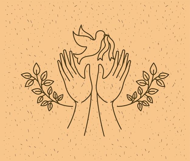 鳩の世界平和の手 Premiumベクター