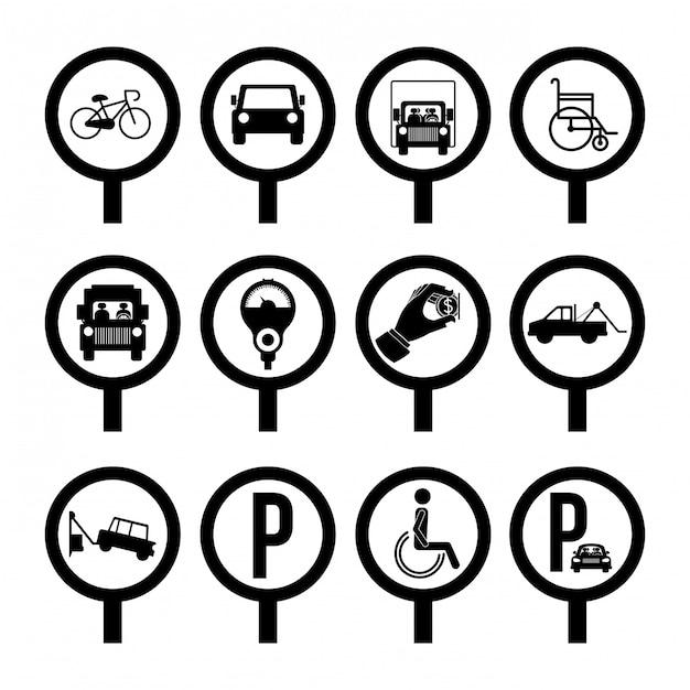 駐車場のデザイン、白背景ベクトル図 Premiumベクター