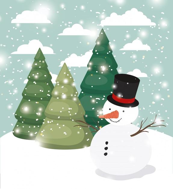 雪景色の雪だるまを持つメリークリスマスカード Premiumベクター