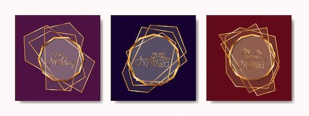 Свадебные приглашения набор золотых рамок Premium векторы