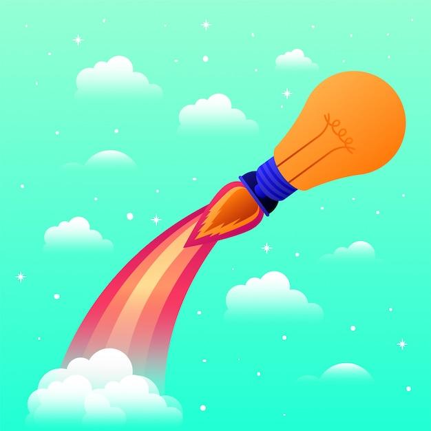電球で始動するロケット Premiumベクター