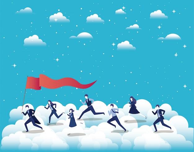 空に旗を立てて競り合うビジネスの人々 Premiumベクター
