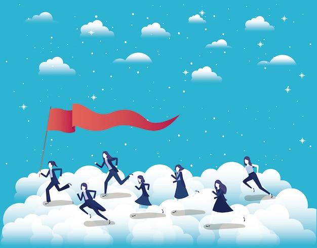 空中で競争する経済人 Premiumベクター