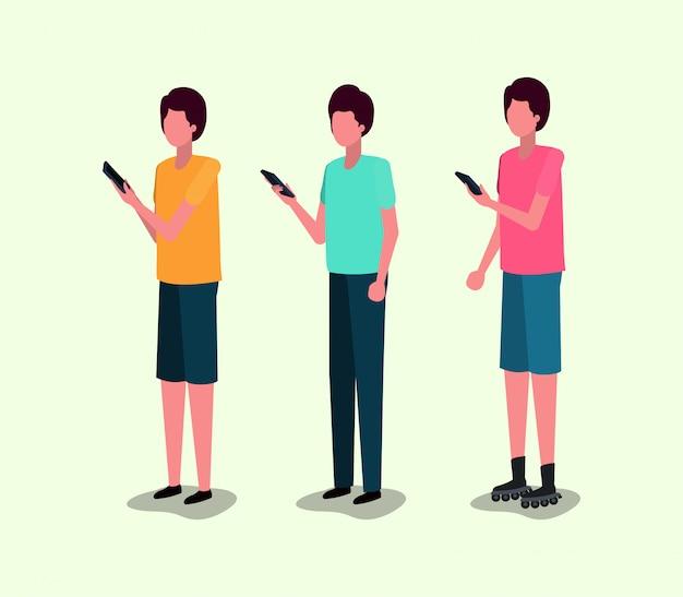 スマートフォンを使用している若者のグループ Premiumベクター
