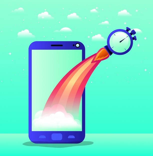 ロケット始動とクロノメーター付きのスマートフォン Premiumベクター