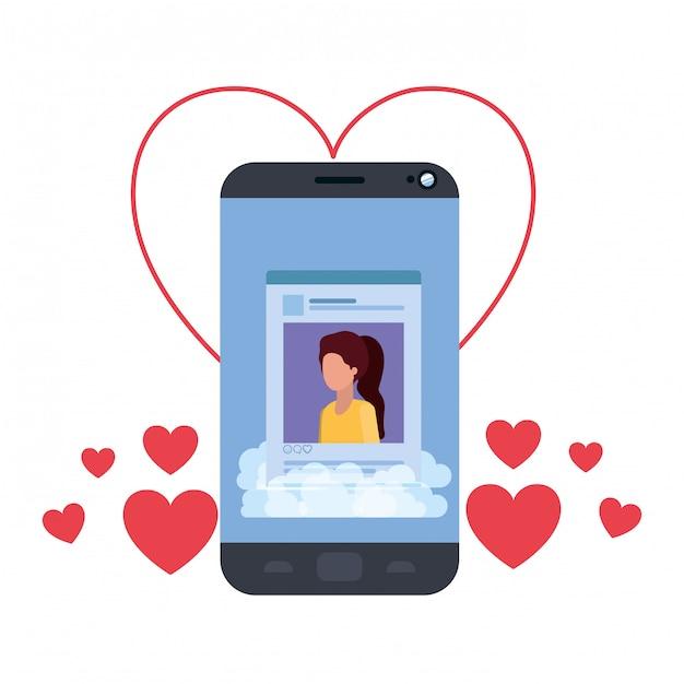 心を持つ女性の社会的ネットワークのプロファイル Premiumベクター